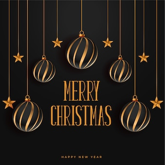Feliz natal, fundo escuro com enfeites e estrelas
