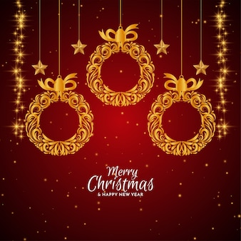 Feliz natal fundo vermelho com bolas douradas