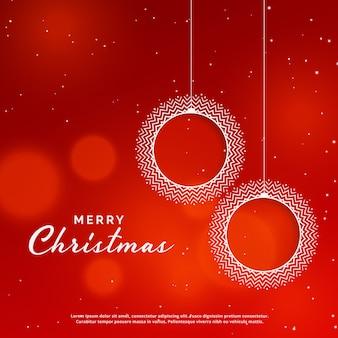 Feliz natal, fundo vermelho, com, decorativo, xmas, bola