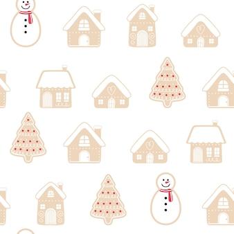 Feliz natal gingerbread sem costura padrão conjunto de fundo