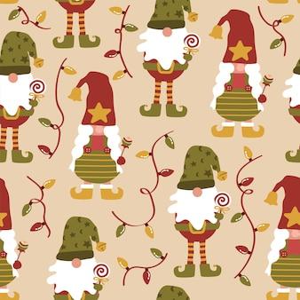 Feliz natal gnomos duende luzes padrão sem emenda
