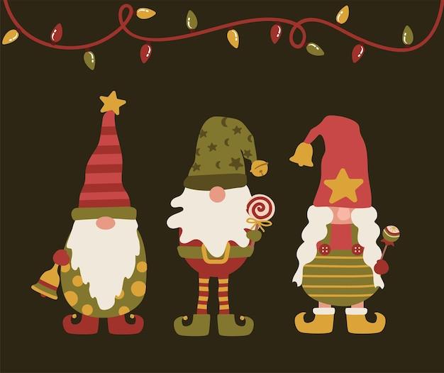 Feliz natal, gnomos, duendes, com sino de chocolate e luzes de natal