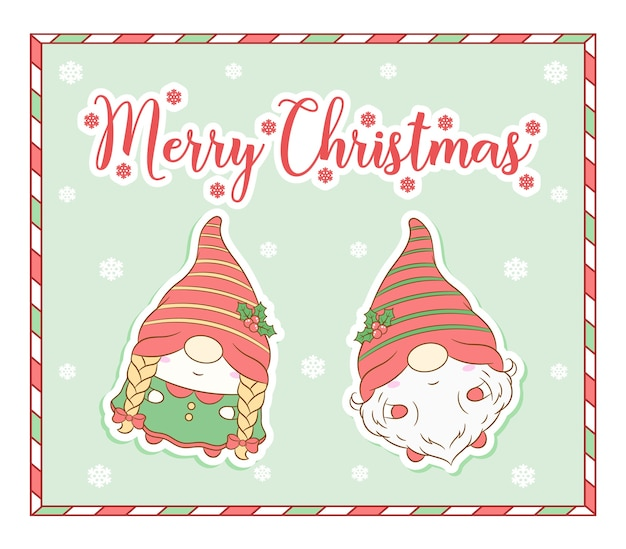 Feliz natal gnomos fofos cartão de desenho com moldura