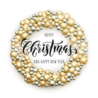 Feliz natal, guirlanda de bolas de vidro douradas e prateadas enfeite de decoração de bolas de guirlanda