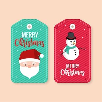 Feliz natal hangtag verde e vermelho