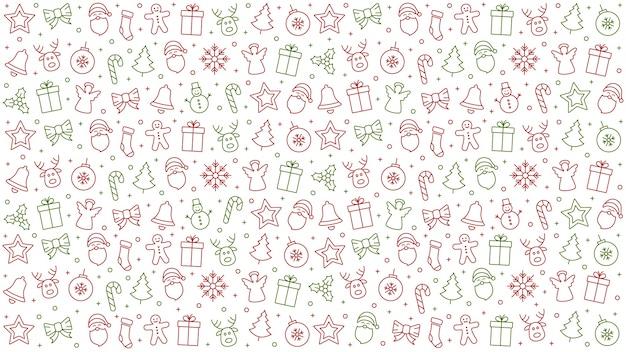 Feliz natal, ícone, padrão, elementos, isolado, fundo