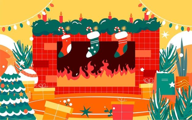 Feliz natal ilustração de personagem cartaz decorado com árvore de natal na véspera de natal