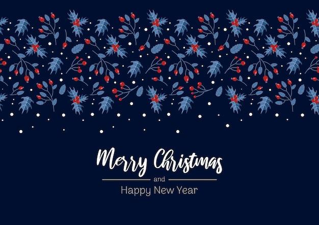 Feliz natal, inverno, bagas, azevinho, dourado, vermelho, azul, festivo, estilo vintage, para, cartões, banners