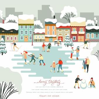 Feliz natal, inverno, com pessoas caminhando ao ar livre em um parque nevado, esquiando e patinando no natal