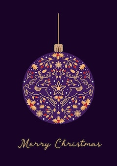 Feliz natal, inverno, natal, bola, cervo, estrelas, bagas, azevinho, estilo vintage, para, cartões, banners