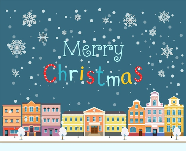 Feliz natal, inverno, paisagem urbana plana