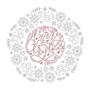 Feliz natal letras caligráficas mão escrita vetor texto e flocos de neve grinalda