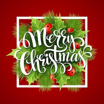 Feliz natal letras cartão com holly, cartão de felicitações