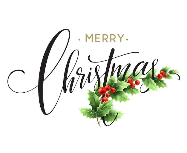 Feliz natal letras cartão com holly