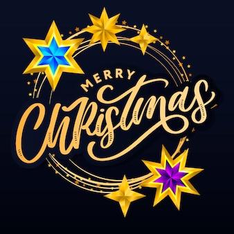 Feliz natal letras desenhadas à mão e estrelas