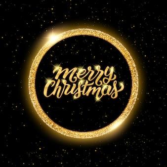 Feliz Natal, lettering em moldura dourada