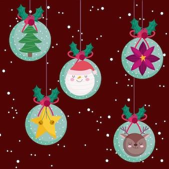 Feliz natal, lindas bolas de neve com a estrela da flor do papai noel e ilustração da árvore