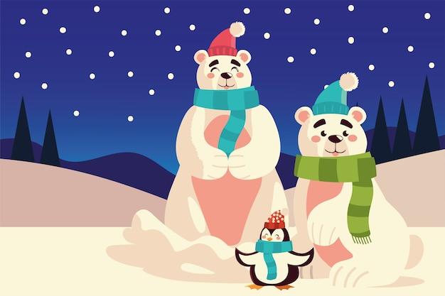 Feliz natal, lindos ursos polares e pinguins sentados na neve.