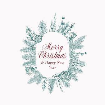 Feliz natal logotipo botânico abstrato ou cartão com banner de moldura oval e tipografia moderna mão dr.