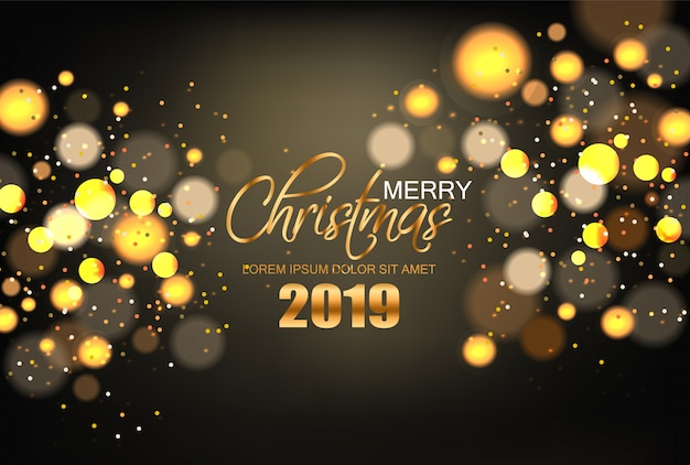 Feliz natal luzes douradas brilhantes