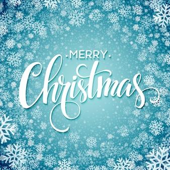 Feliz natal manuscrita texto com flocos de neve, cartão de felicitações