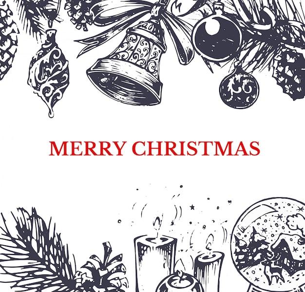 Feliz natal, mão desenhada estilo cartão de saudação