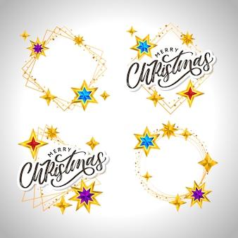 Feliz natal mão desenhada letras com moldura dourada e estrelas