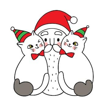 Feliz natal mão desenhar cartoon bonito papai noel e dois gatos.