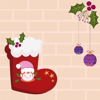 Feliz natal, meia vermelha com ilustração de decoração de ajudante e bolas