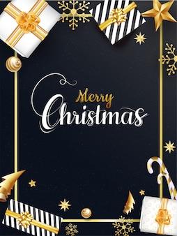 Feliz natal modelo com vista superior de caixas de presente, enfeites, estrelas, floco de neve, pirulito e origami árvore de natal de papel em fundo preto.