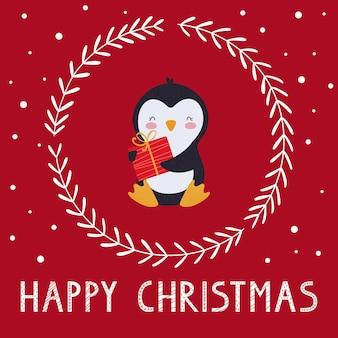 Feliz natal. modelo de cartão de férias ou banner com um pinguim engraçado, coroa decorativa e letras. ilustração vetorial sobre um fundo vermelho.