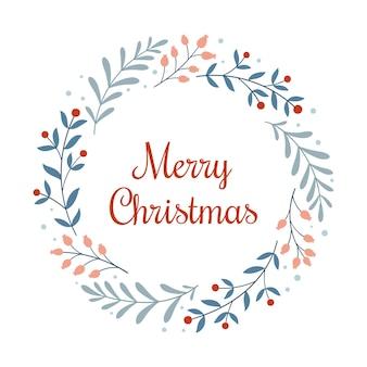 Feliz natal. modelo de cartão de natal ou impressão de férias com uma coroa de ramos, frutas vermelhas e uma inscrição no estilo escandinavo em um fundo branco.