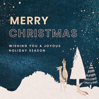Feliz natal modelo de postagem no facebook, saudações de feriado para vetor de mídia social