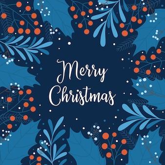 Feliz natal modelo para cartão de natal ou ano novo com bagas e folhas de azevinho, ramos e flocos de neve. ilustração vetorial em estilo simples