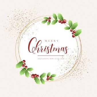 Feliz natal moldura dourada cartão