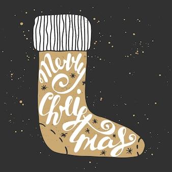 Feliz natal na meia em estilo vintage.