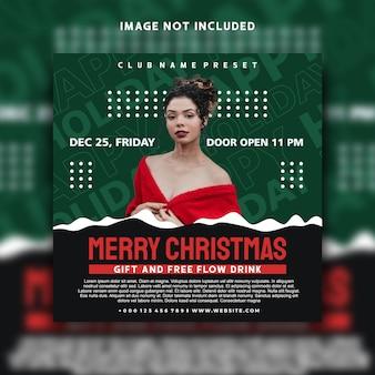 Feliz natal nas mídias sociais postar o design do modelo do banner do instagram