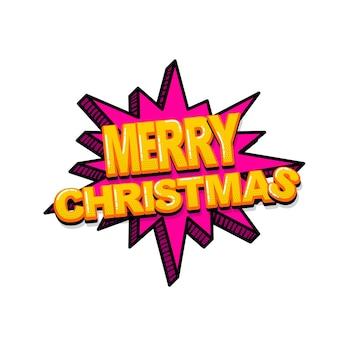 Feliz natal natal em quadrinhos texto efeitos sonoros estilo pop art vector discurso bolha palavra desenho animado