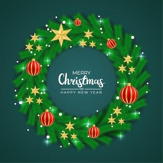 Feliz natal, natal, estrela, bola rad, luz e fundo realista