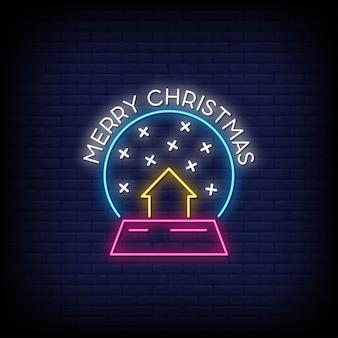 Feliz natal néon assina estilo vetor de texto