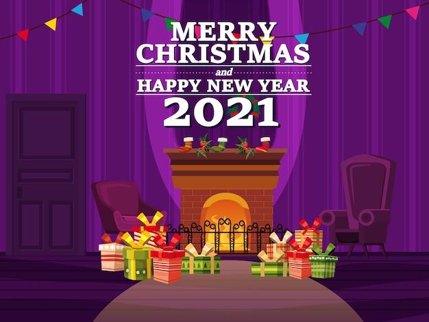 Feliz natal no interior da sala de estar com uma árvore de natal, presentes e uma lareira