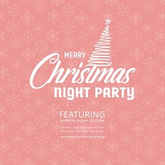 Feliz natal noite festa floco de neve rosa fundo
