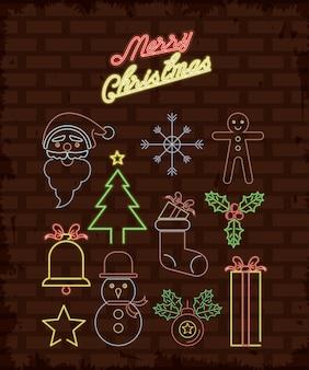 Feliz natal objetos luzes de néon