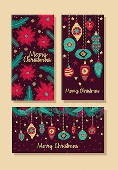 Feliz natal, pacote, de, cartões, vetorial, ilustração, desenho