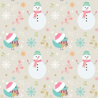 Feliz natal padrão com personagens fofinhos