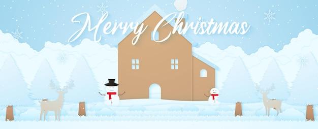 Feliz natal, paisagem de inverno, renas, casa, boneco de neve e árvores na neve com neve caindo