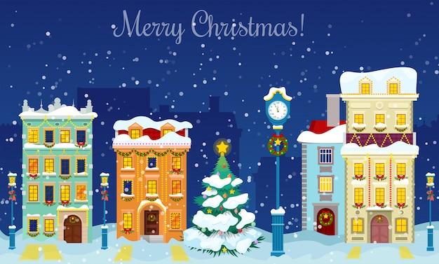 Feliz natal paisagem urbana com queda de neve, casas e cartão de saudação de árvore de natal.