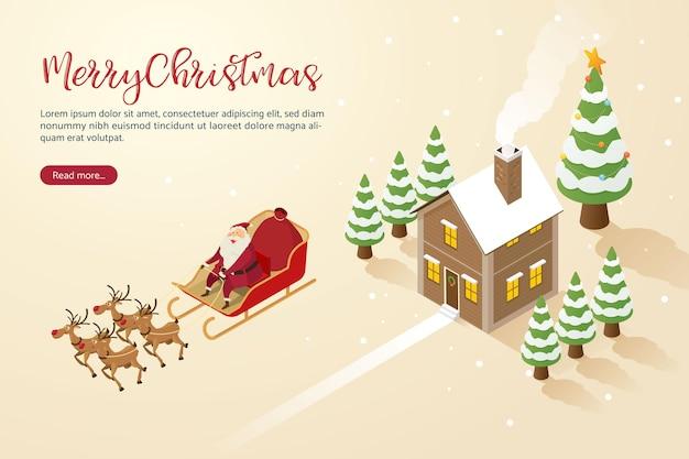 Feliz natal, papai noel com renas voando sobre a casa, entregam felicidade às crianças