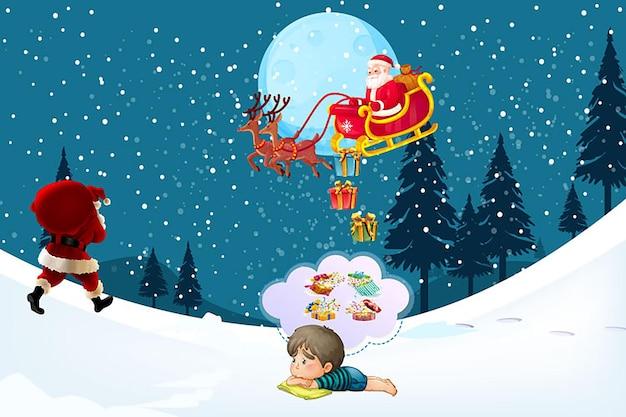 Feliz natal papai noel design do banner da cláusula