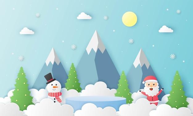 Feliz natal papai noel e boneco de neve com forma de geometria pódio tema de natal papel cartão de corte fundo azul apresentação de estande de produtos com estilo minimalista
